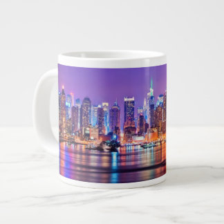 Midtown Manhattan at night with Empire Stae Large Coffee Mug