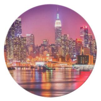 Midtown Manhattan at night with Empire Stae Melamine Plate