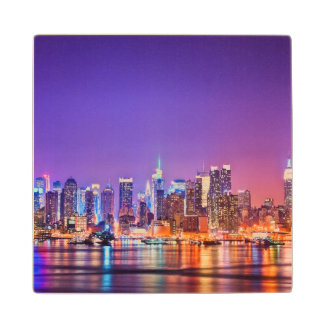 Midtown Manhattan at night with Empire Stae Wood Coaster