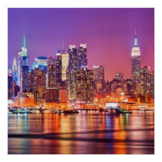 Midtown Manhattan at night with Empire Stae Poster