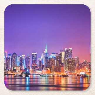 Midtown Manhattan at night with Empire Stae Square Paper Coaster