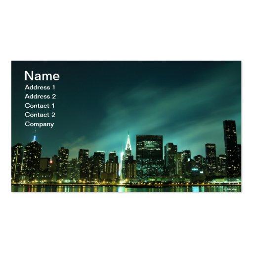 Midtown Manhattan skyline at Night Lights, NYC Business Card
