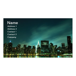 Midtown Manhattan skyline at Night Lights, NYC Double-Sided Standard Business Cards (Pack Of 100)