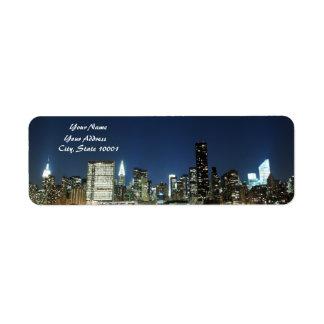 Midtown Manhattan skyline at Night Lights, NYC Return Address Labels