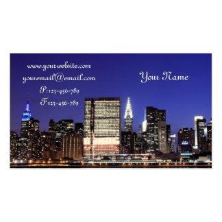 Midtown Manhattan Skyline at Night, New York City Business Card Template