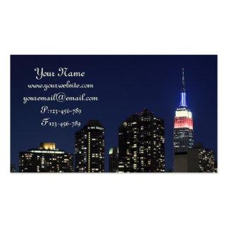 Midtown Manhattan Skyline at Night, New York City Business Cards