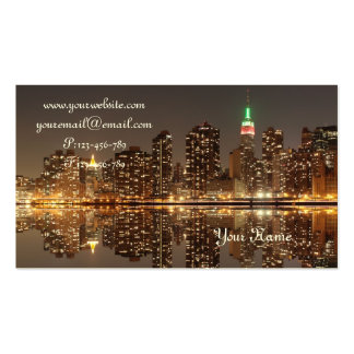 Midtown Manhattan Skyline at Night, New York City Double-Sided Standard Business Cards (Pack Of 100)
