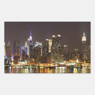 Midtown Manhattan visto de Weehawken New Jersey Pegatina Rectangular