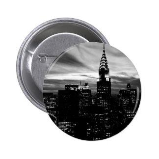 Midtown negro y blanco de New York City Pin Redondo De 2 Pulgadas