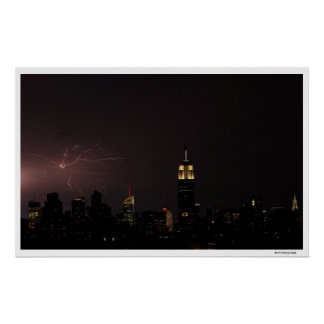 Midtown NYC Skyline with Spidery Lightning Strike Poster
