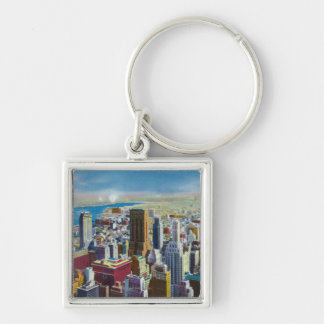 Midtown Skyline View towards East River Keychains