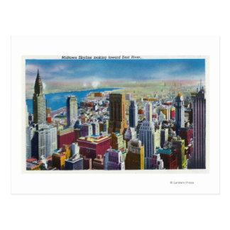 Midtown Skyline View towards East River Postcard