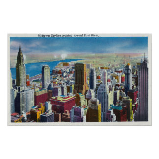Midtown Skyline View towards East River Poster