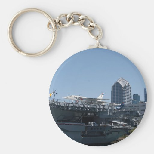 Midway Aircraft Carrier Docked In San Diego Key Chain