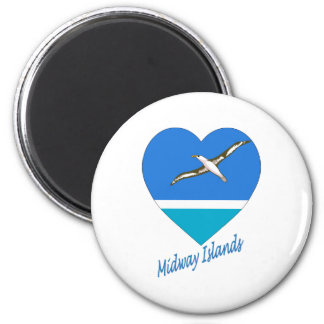 Midway Islands Flag Heart Fridge Magnet