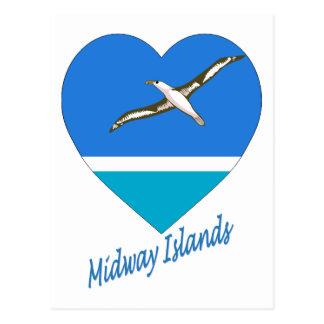 Midway Islands Flag Heart Postcard