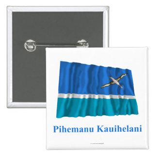 Midway Islands que agitan la bandera con nombre en Pin Cuadrada 5 Cm
