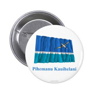 Midway Islands que agitan la bandera con nombre en Pin Redondo 5 Cm