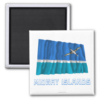 Midway Islands Waving Flag with Name Refrigerator Magnet