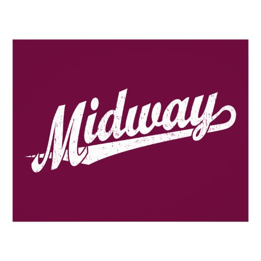 Midway script logo in white distressed personalized flyer