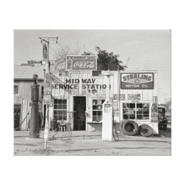Midway Service Station, 1939 Canvas Print
