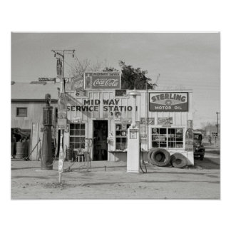 Midway Service Station, 1939. Vintage Photo Poster