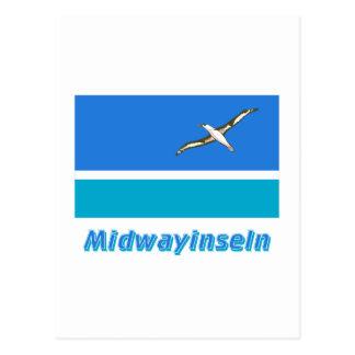 Midwayinseln Flagge mit Namen Postcard