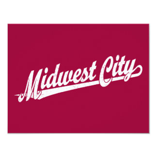 Midwest City script logo in white distressed Personalized Announcement