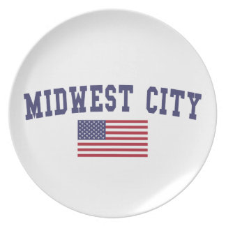 Midwest City US Flag Dinner Plate