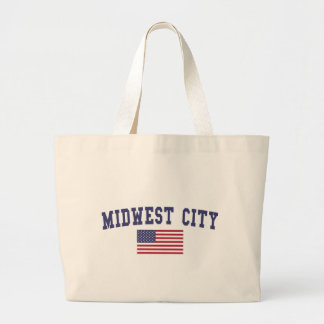 Midwest City US Flag Large Tote Bag