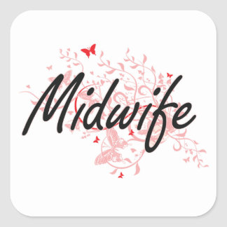 Midwife Artistic Job Design with Butterflies Square Sticker