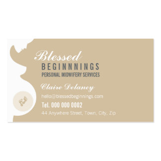 MIDWIFE BUSINESS CARD :: pregnant belly baby feet