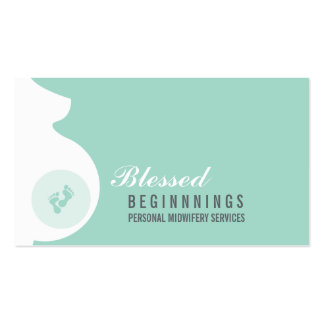 MIDWIFE BUSINESS CARD pregnant belly baby feet
