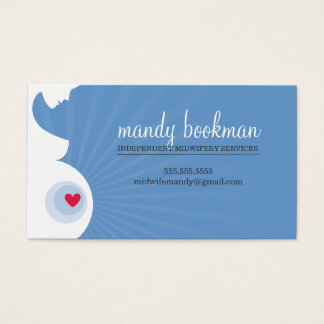 MIDWIFE CARD pregnant belly silhouette blue