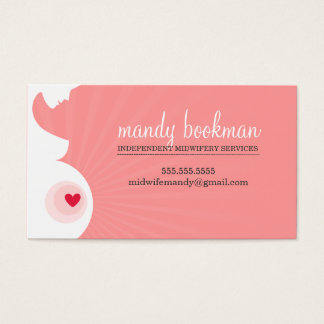 MIDWIFE CARD pregnant belly silhouette coral pink