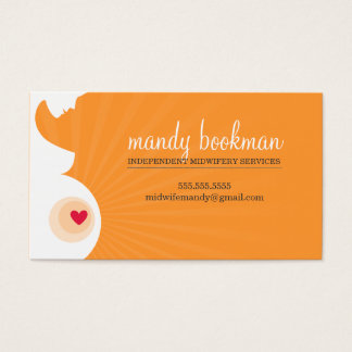 MIDWIFE CARD pregnant belly silhouette orange