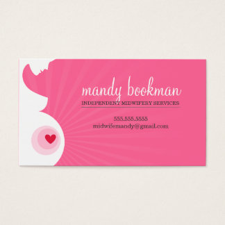 MIDWIFE CARD pregnant belly silhouette pink