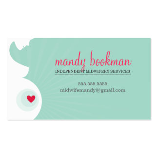 MIDWIFE DOULA CARD pregnant belly heart mint green Double-Sided Standard Business Cards (Pack Of 100)