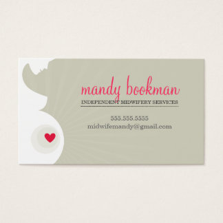 MIDWIFE DOULA CARD pregnant belly heart nuetral