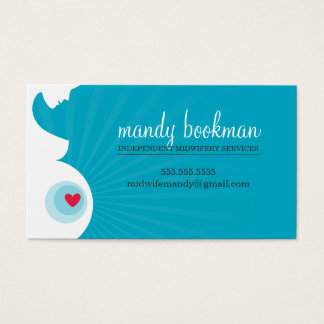 MIDWIFE DOULA CARD pregnant belly heart turquoise