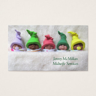 Midwife, Doula Service: Clay Babies, Fuzzy Blanket Business Card