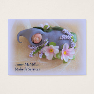 Midwife Services: Sleeping Clay Baby, Flowers Business Card