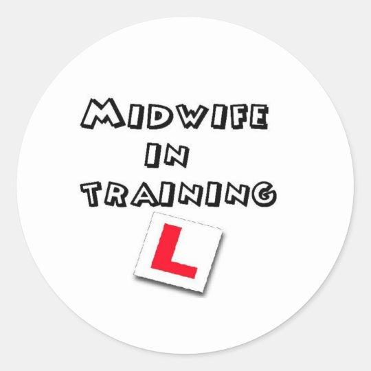 midwife training classic round sticker