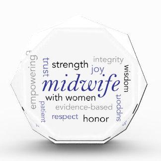 midwife word cloud acrylic award