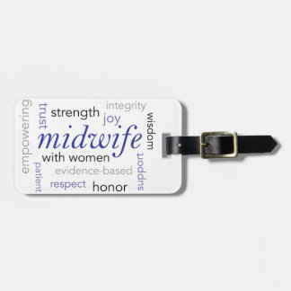 midwife word cloud bag tag