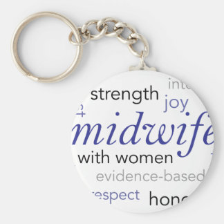 midwife word cloud keychain