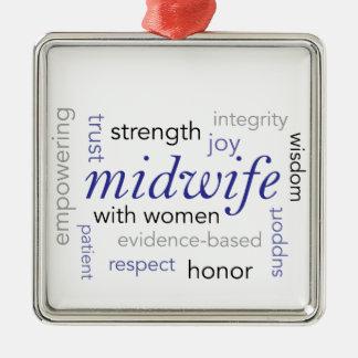 midwife word cloud metal ornament