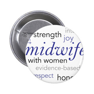 midwife word cloud pinback button