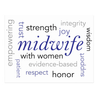midwife word cloud postcard