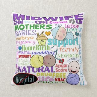 Midwifery Terminology-Subway Art Pillows